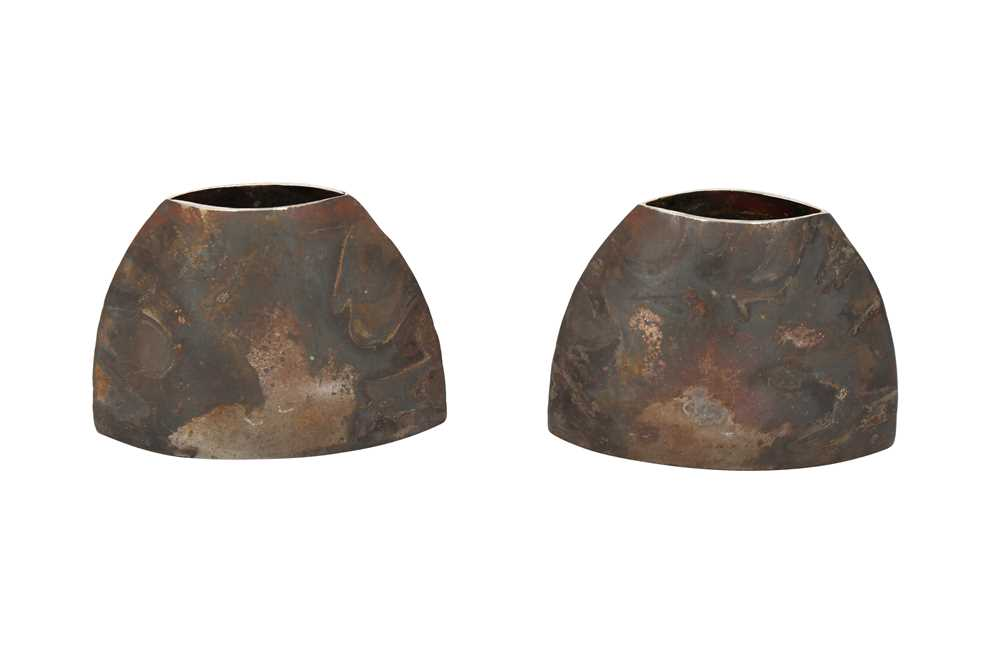 A PAIR OF BROWN PATINATED METAL VASES, CONTEMPORARY