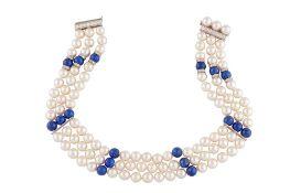 John van der Vet   A cultured pearl, lapis lazuli and diamond choker