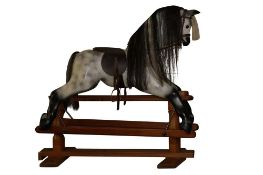 A HORSEPLAY DAPPLE GREY PAINTED CHILD'S ROCKING HORSE