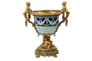 A FRENCH GILT BRONZE AND SEVRES STYLE PORCELAIN URN, 19TH CENTURY