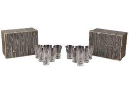 A SET OF TWELVE DAUM ETCHED GLASS TUMBLERS