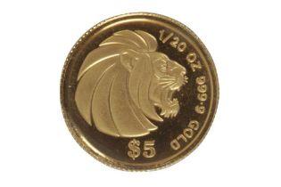 SINGAPORE, GOLD LION, 5 DOLLARS, 1990, 1/20oz