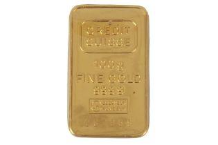 A CREDIT SUISSE 100G FINE GOLD INGOT
