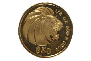 SINGAPORE, 50 DOLLARS, GOLD LION, 1990, 1/2oz