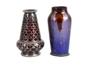 A MINIATURE AMERICAN OVERLAY SILVER AND RUBY GLASS VASE, EARLY 20TH CENTURY