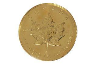 CANADA, ELIZABETH II, 20 DOLLARS, MAPLE LEAF, 1989, FINE GOLD, 1/2oz