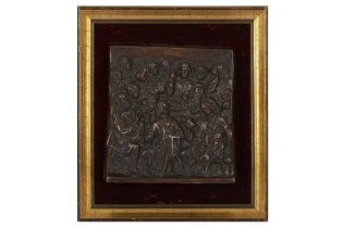 A SQUARE BRONZE PLAQUE OF THE LAST SUPPER, IN THE MANNER OF TENIERS, LATE 19TH /EARLY 20TH CENTURY