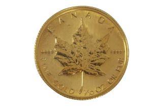 CANADA, ELIZABETH II, 5 DOLLARS, MAPLE LEAF, 1986, FINE GOLD, 1/10oz