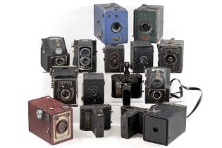 Group of Vintage Box & Other Cameras, Inc Ensign Cupids.