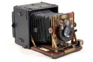 Sanderson 'Regular' Quarter Plate Wood & Brass Camera.