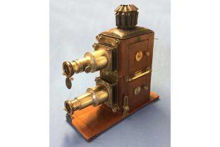 A Large, Bi-Unial Magic Lantern Projector by D Noakes & Son, London.