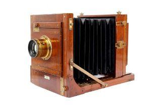 An Early Gandolfi Half Plate Tailboard Mahogany & Brass Camera