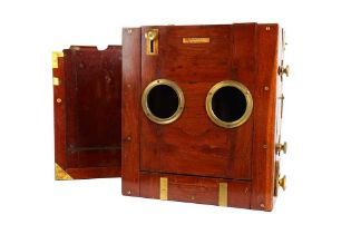A Lancaster Whole Plate Tailboard Mahogany & Brass Camera