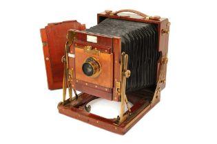 A Sanderson Half Plate Mahogany & Brass Field Camera
