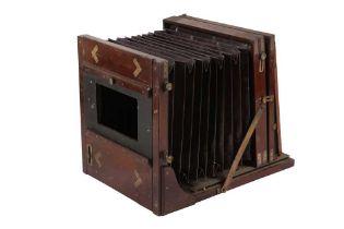 A Whole Plate Mahogany & Brass Tailboard Camera