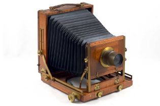 Unnamed Wood & Brass Half Plate Field Camera.
