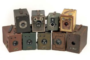 Group of Box Cameras, inc Uncommon Coloured Models.