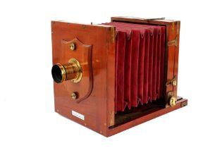 A Lancaster Special Patent Half Plate Tailboard Mahogany & Brass Camera