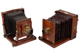 A Pair of Half Plate Mahogany Field Cameras