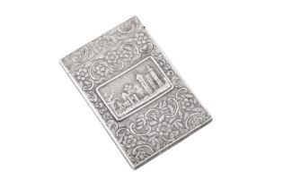 A William IV sterling silver 'castle top' card case, Birmingham 1835 by Taylor and Perry