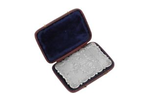 A cased Victorian sterling silver card case, Birmingham 1851 by Thomas Dones