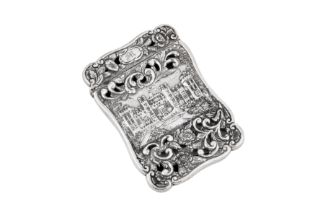 A William IV sterling silver 'castle top' card case, Birmingham 1844 by Nathaniel Mills