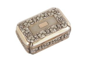A private collection of snuff boxes and vinaigrettes, lot 1-33: A George III silver gilt snuff box,