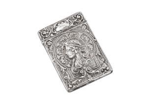 An Edwardian sterling silver card case, Birmingham 1905 by Robert Pringle & Sons