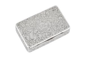 An early Victorian sterling silver snuff box, London 1837 by Charles Rawlings and William Summers