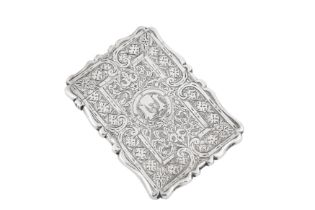 A private collection of card cases, lot 37-52: A Victorian sterling silver card case, Birmingham 187