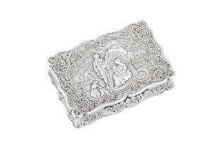 A Victorian sterling silver snuff box, Birmingham 1854 by Edward Smith