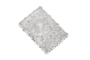 A Victorian sterling silver card case, Birmingham 1848 by Yapp and Woodward