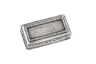 A William IV sterling silver snuff box, Birmingham 1836 Edward Smith