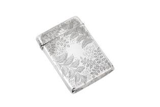 A Victorian sterling silver card case, London 1894 by Matthew John Jessop