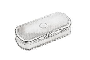 A George IV sterling silver snuff box, London 1828 by Edward Edwards II