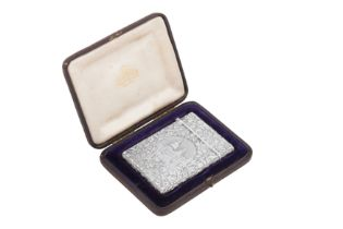 A cased Victorian sterling silver 'castle top' card case, Birmingham 1842 by Joseph Willmore