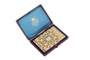 A cased early Victorian sterling silver gilt card case, Birmingham 1838 by Taylor and Perry