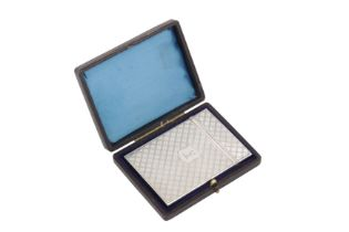 A cased early Victorian sterling silver card case, Birmingham 1838 by Nathaniel Mills