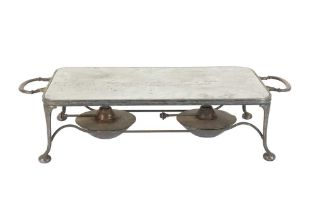 A 20TH CENTURY SILVER PLATED (EPNS) TWIN HANDLED BURNER STAND, ASPREY AND CO