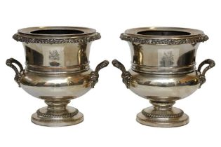 A PAIR OF GEORGE IV OLD SHEFFIELD SILVER PLATE WINE COOLERS, SHEFFIELD CIRCA 1820