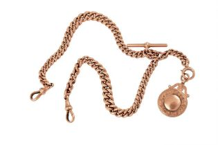 A GOLD ALBERT CHAIN WITH PENDANT