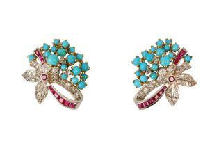 A PAIR OF TURQUOISE, RUBY AND DIAMOND EARCLIPS