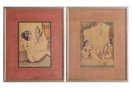 A SET OF FOUR INDIAN PAINTED AND DECORATED PRINTED EROTIC SCENES, IN THE 18TH CENTURY STYLE