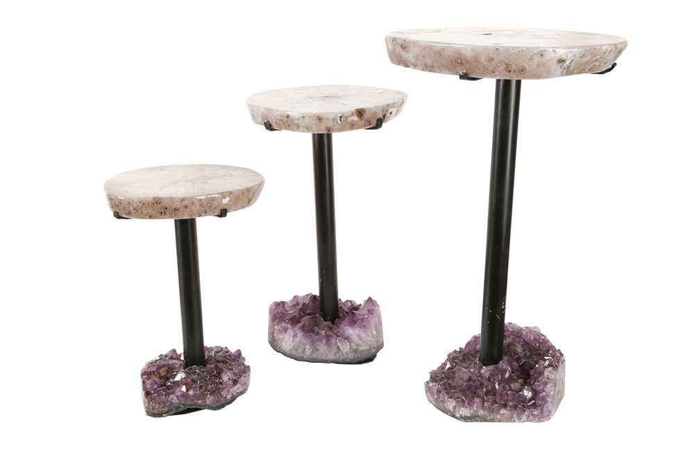 A SET OF THREE POLISHED QUARTZ AND AMETHYST TABLES, SOUTHERN BRAZIL - Image 2 of 2