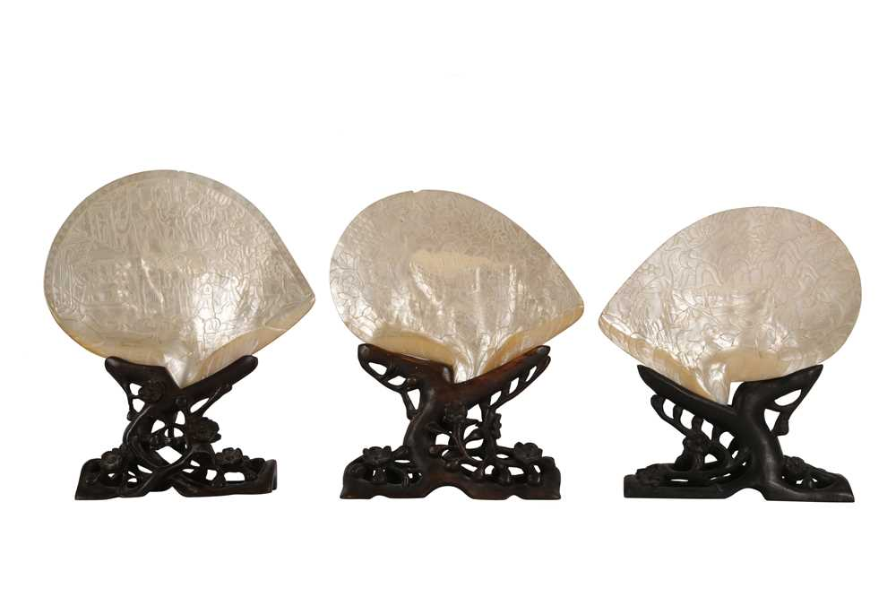 A PAIR OF 19TH CENTURY CHINESE PEARL SHELL CARVINGS, QING DYNASTY, TOGETHER WITH ANOTHER