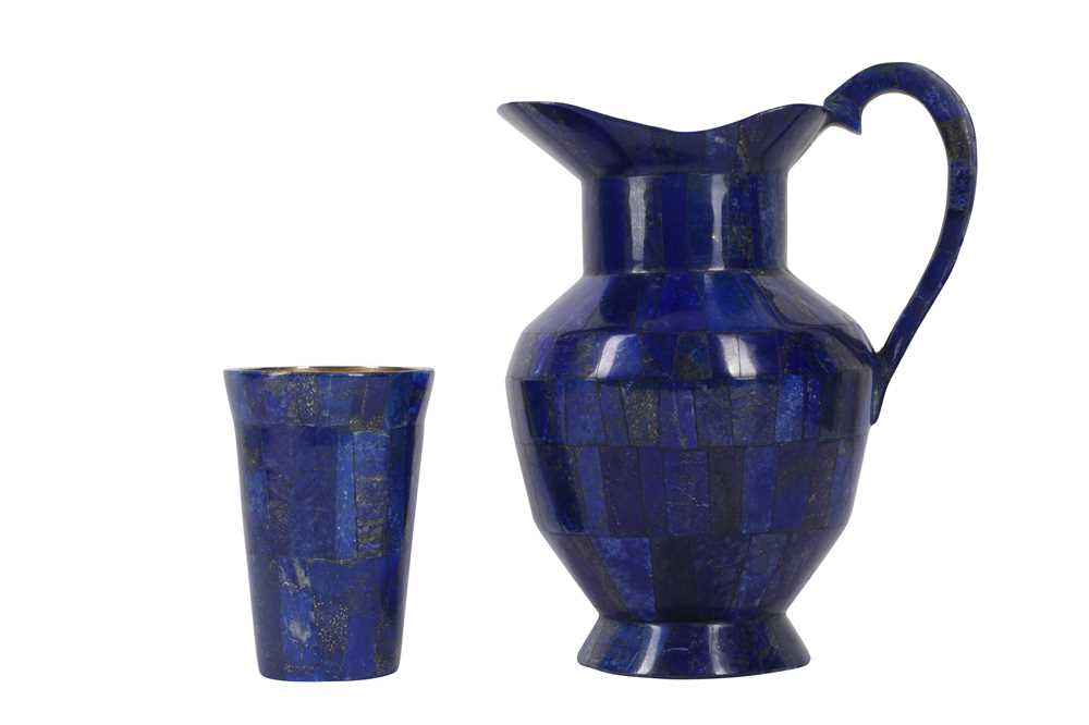 A LAPIS VENEERED AND BRASS MOUNTED JUG AND CUP SET