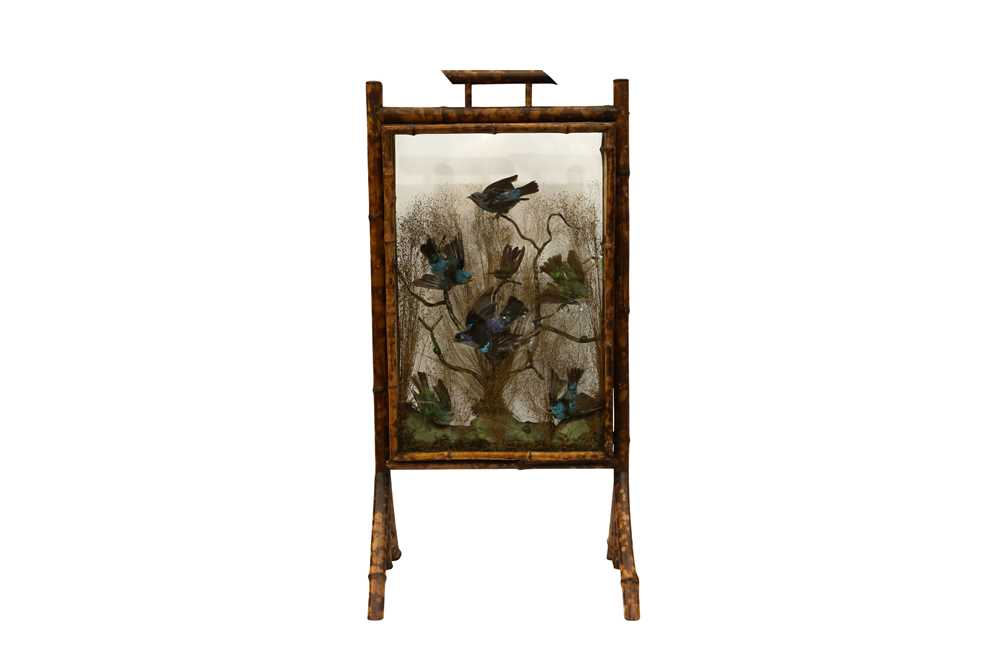 A BAMBOO FIRESCREEN DISPLAY OF EXOTIC BIRDS AND BEETLES, IN THE MANNER OF ROWLAND WARD