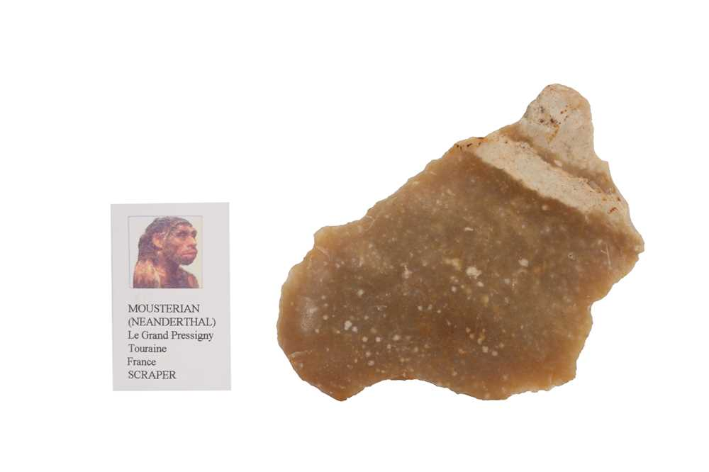 THREE NEANDERTHAL STONE TOOLS IN VICTORIAN MUSEUM BOXES - Image 2 of 5