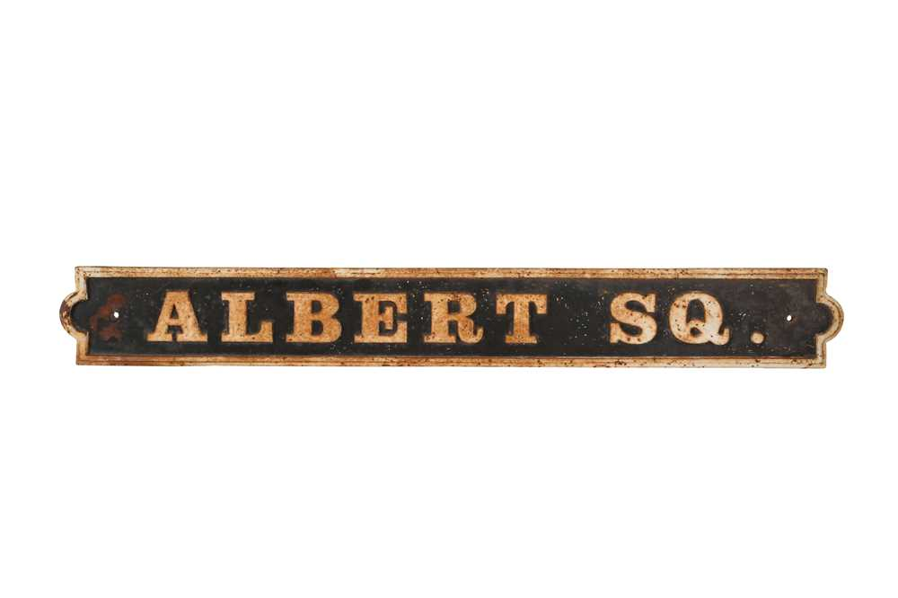 A LATE 19TH CENTURY PAINTED IRON STREET SIGN 'ALBERT SQUARE'