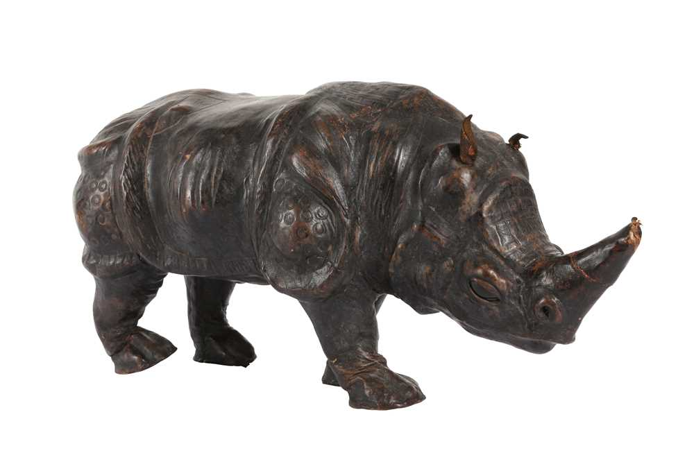 A LEATHER COVERED MODEL OF A RHINOCEROS, PROBABLY LATE 19TH / EARLY 20TH CENTURY - Image 3 of 3